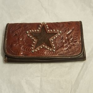 American West Authentic Leather Wallet Cowgirl Sta